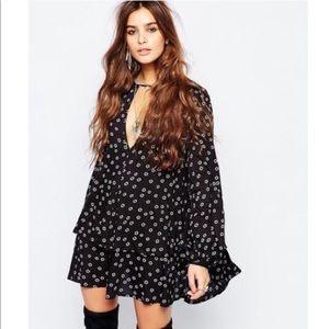 Free People Beck Dress Black Long Sleeve Small